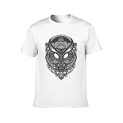 Hombres T Shirt Casual Algodón Pájaro HeadLoose Tees Cuello redondo Manga Corta Camisetas Streewear, blanco, Medium