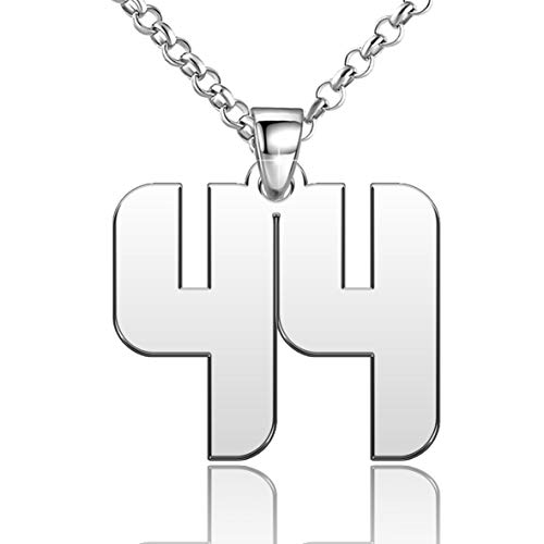 CLY Jewelry Silver Plated 44 Baseball Number Neecklace Personalized Custom Sterling Silver Women You Zales, 0.7 inch