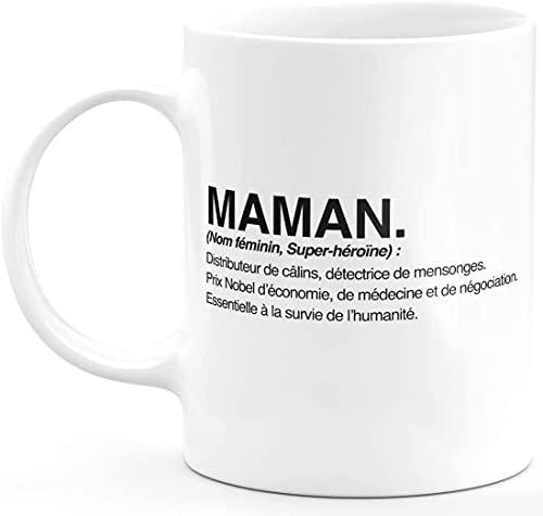 Bichette shop Mug Humour Maman Tasse a Cafe Cadeau Rigolo Original Humoristique Fun à Message pour Femme et Homme - définition Maman - idée Cadeau fêtes des mères pour Noel