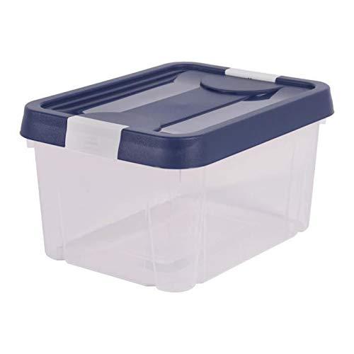 EDA PLASTIQUE Boîte de Rangement Clippy 9 L - Naturel avec Couvercle Bleu et poignées Blanc cérusé - 31 x 23,6 x 16,8 cm