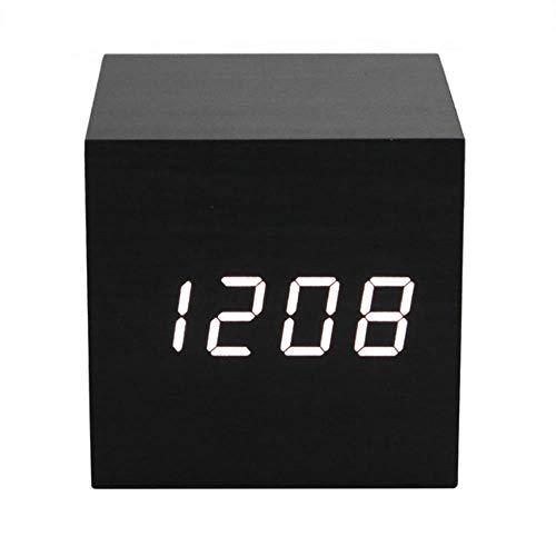 CHENXQ Akoestische Controle Alarm Houten kubus Klok LED Kalender Creatieve Tafelhorloge Kit Thermometer Elektronische Display Slaapkamer Student
