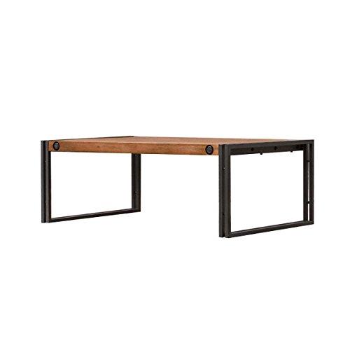 Meubletmoi industriële salontafel 110 x 70 cm/massief acaciahout en metaal/hoogwaardig - collectie Workshop