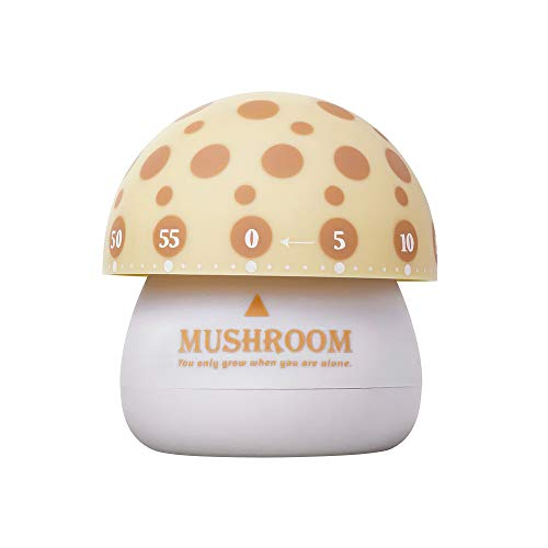 Mushroom Timer, Cooking Timer Kitchen Timer Touching Manual Timer Time Management Device for Adult Children One Button Operation for Teacher Kids and Elderly- Yellow