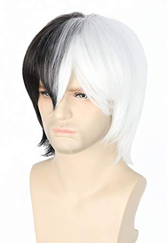 Topcosplay Anime Cosplay Wig Half Black Half White Short Layered Halloween Costume Wigs