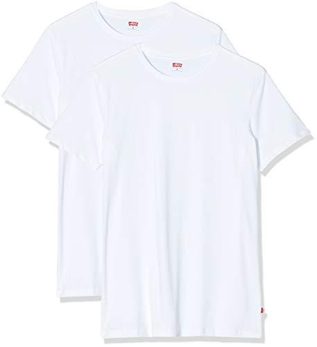 Levi s Levis Men Solid Crew 2P T-Shirt, Bianco (White 300), Medium (Pacco da 2) Uomo