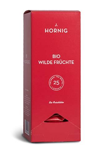 J. Hornig Bio Früchtetee, Wilde Früchte, Tee im biologisch abbaubaren Pyramidenbeutel, 25 Tee-Sachets, fruchtig-süßer Tee mit Erdbeere und Himbeere