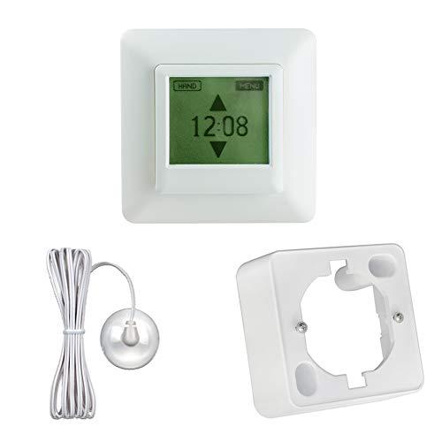 JAROLIFT/Vestamatic Multi Time Control Touch Zeitschaltuhr inkl. Lichtsensor 2m + Aufputzrahmen weiss