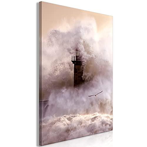 murando Cuadro en Lienzo Faro 60x90 cm 1 Parte Impresión en Material Tejido no Tejido Impresión Artística Imagen Gráfica Decoracion de Pared - Mar Agua c-C-0210-b-a