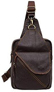 Crossbody Bags For Business - Men Business Crossbody Bag Cowhide Chest Bag - Coffee -