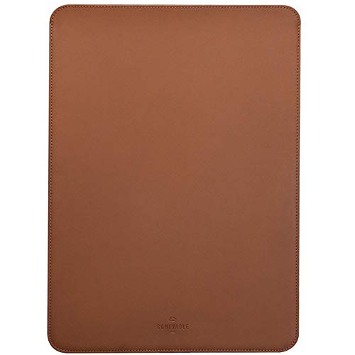 Comfyable Laptop Sleeve 16 Inch for MacBook Pro 2019-2020, Faux Leather, Brown