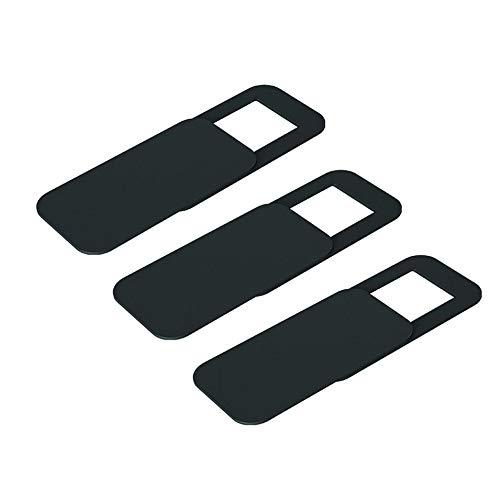 T10 3ピース長方形プラスチックウェブカメラカバー超薄型プライバシープロテクターカメラシャッターステッカー電話タブレットノートブックデスクトップ-ブラック