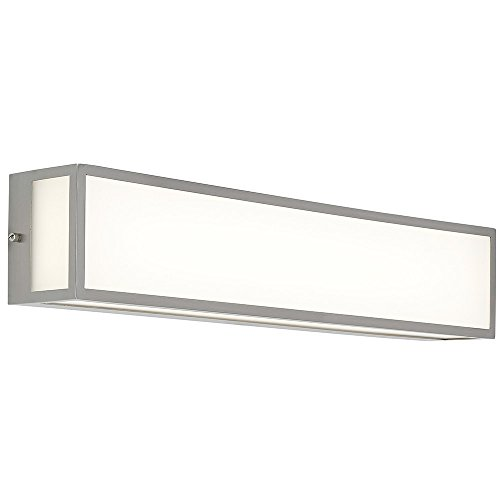 Hamilton Hills New Modern Vanity Light | Frosted LED Brushed Nickel Wall Mounted Lighting | Vertical or Horizontal Box Light | 3000K Warm White 24""