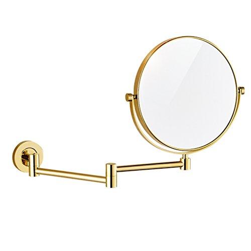 Zfggd Miroir de Maquillage grossissant 1X / 3X, Miroir de Maquillage Rond de 8 Pouces pour la Salle de Bain - Pivotant à 360 degrés, Double Face, Montage Mural (Color : Gold)