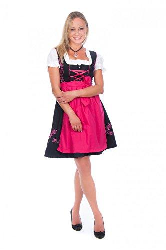 Mini Dirndl 3-tlg. schwarz Pink mit passender Bluse und Schürze, Gr.48, Farbe: Rosa (Pink)