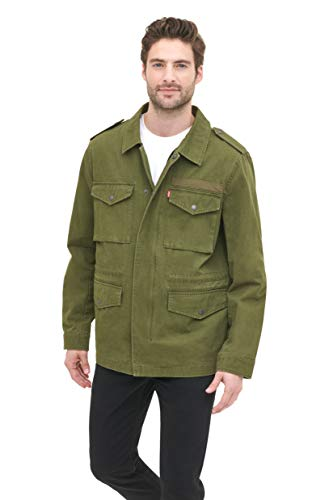 Levi's Men's Cotton Four Pocket Unlined Military Jacket with Screen Print Logo, Olive, X-Large