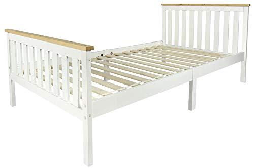 Leomark houten bed wit zonder matras kinderen voor volwassenen frame Milano grenen 90/200