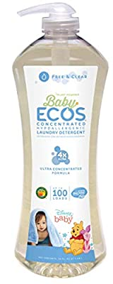 Earth Friendly Products Baby Ecos 4X Liquid Laundry Detergent, 200 Loads, Free & Clear, 2 X 50 Oz Bottles, 2Count, Free & Clear, 2Count