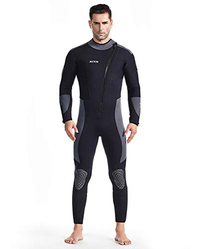 Women's and Men's One Piece 5MM Neoprene Wetsuit Front Zipper Diving Suit Rash Guard Warm Swimsuit for Surfing Deep Dive Scuba,XXXL