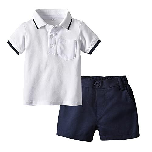 Polo de manga corta para niño + pantalones cortos elásticos, 2 piezas, conjuntos de ropa de verano, Blanco, 5-6 Años