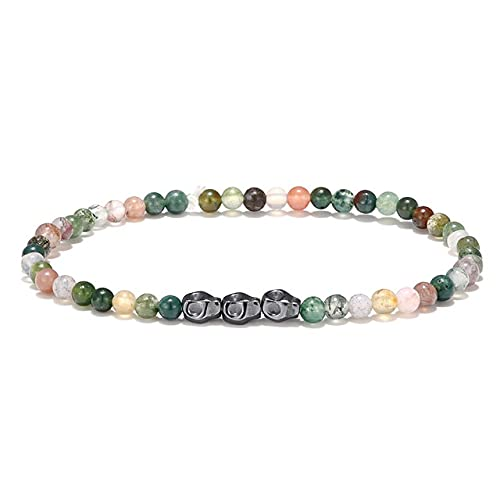 zhongbao Pulsera de cuentas pulseras lapislázuli joyas pulseras para hombres y mujeres (longitud 19 cm, color metal: verde)
