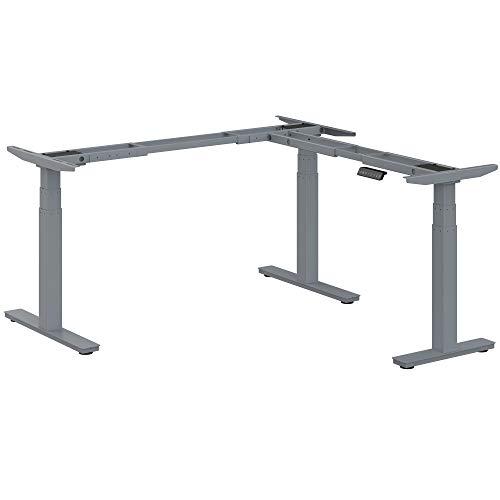 Ergotopia® Desktopia Edge elektrisch höhenverstellbares Tischgestell für Eckschreibtische/Premium Ecktischgestell mit 3 Jahren Garantie (Grau)