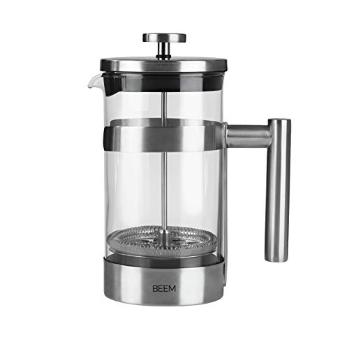 BEEM Cafetera de émbolo FRENCH PRESS – 1 litro | Coffee Press de acero inoxidable | 1 litro | Cafetera de camping | Filtro de prensa de acero inoxidable | 8 tazas de café