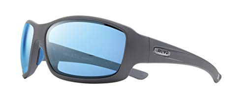 Revo Men's Maverick Polarized Wrap Sunglasses, Matte Graphite Frame, Blue Water