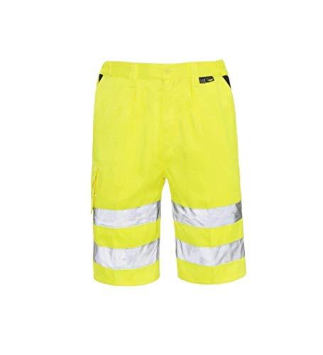 Hohe Sichtbarkeit Hochsichtbar Arbeitskleidung Cargo Hi Vis Shorts Multi Taschen Polycotton Reflektierend Sicherheit Hose - Signalfarbe Gelb Shorts, XXXL (3XL)