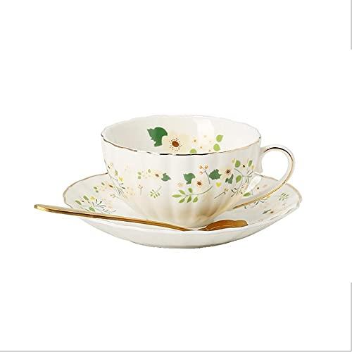 XDYNJYNL Taza de café y platillo de cerámica Elegante, 8.79oz / 260ml Leche Lisa Latte Espresso Cups Taza de Desayuno Tazas Smoothie Taza de Bebidas con Mango para Jugo Cacao de Cacao Tazas