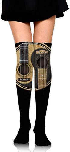 JaONGSADY dames Knee High Sport Long Sock Old and Worn Acoustic Gitars Yin Yang for Baseball Sport Long