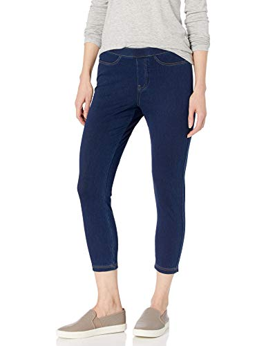 No Nonsense Women's Classic Denim Capri Legging with Pockets, Dark Denim, XL