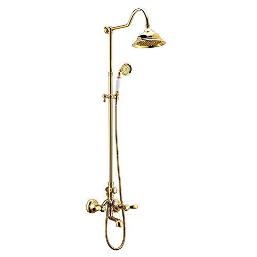 LKK-KK Ducha Accesorios Dorados baño de latón Grifo Mezclador de la Ducha del Grifo de la Ducha de Lluvia Cabeza Redonda for Montaje en Pared Grifo del baño de Oro