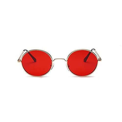 YHKF Gafas De Sol Ovaladas Steampunk para Mujer, Gafas De Sol Retro Vintage A La Moda para Hombre, Gafas De Metal Pequeñas Punk para Mujer, Anteojos Uv400-Rojo