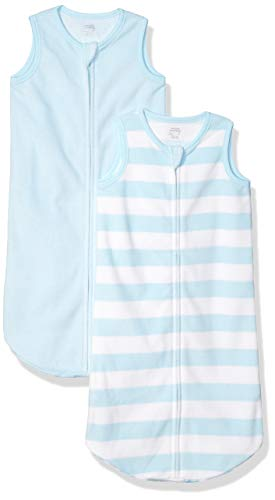 Amazon Essentials 2-pack Microfleece Baby Sleep Sack infant-and-toddler-sleepers, Mehrfarbig (Blue White Rugby Stripe), ((Herstellergröße: 0-6M)