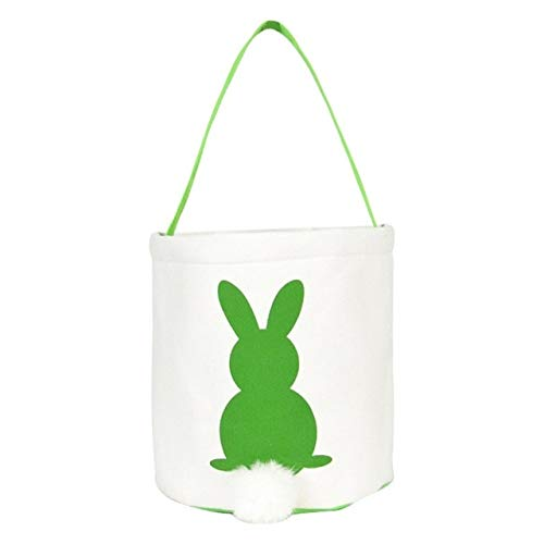 Lysee Gift Bags & Wrapping Supplies - Wholesale Easter Bunny Basket Monogrammed Tote Handbag Easter Bunny Bag Easter Bucket Kids Gfit - (Color: Green)