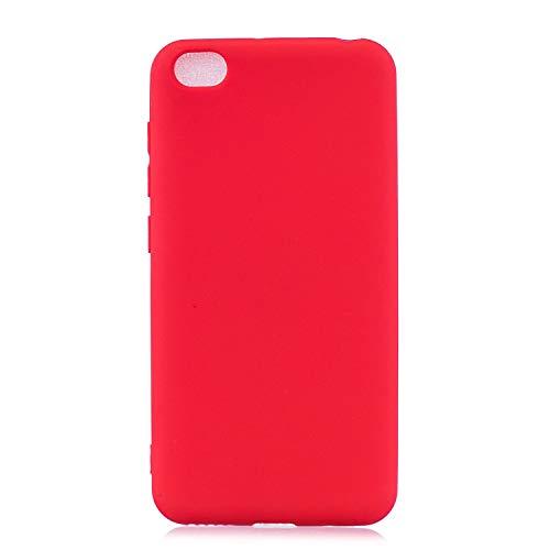 cuzz Funda para Xiaomi Redmi GO+{Protector de Pantalla de Vidrio Templado} Carcasa Silicona Suave Gel Rasguño y Resistente Teléfono Móvil Cover-Rojo