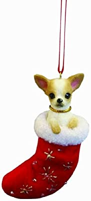 """Chihuahua Christmas Stocking Ornament with """"Santa's Little Pals"""" Hand Painted and Stitched Detail by E&S Imports, Inc"""