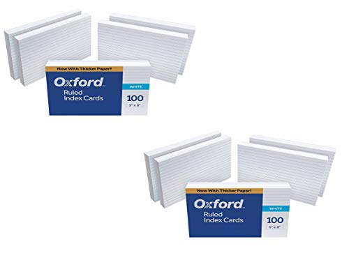 "Oxford Ruled Index Cards, 5"" x 8"", White, 1000 Cards (10 Packs of 100)"