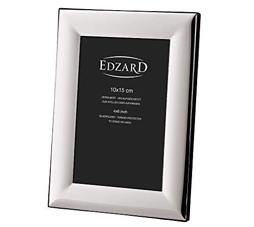 EDZARD Fotorahmen Gela für Foto 10 x 15 cm, edel versilbert, anlaufgeschützt, mit 2 Aufhängern