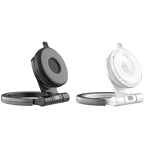 360 Rotatable Nano Adsorption Tablet Ring Holder-Mobile Phone Tablet Desktop Stand Nano Strong Adsorption Water Washing Reusable Kitchen Wall Bracket (Black+White)