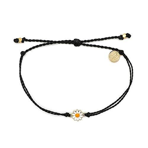 Pura Vida Gold Daisy Black Bracelet - Waterproof, Artisan Handmade, Adjustable, Threaded, Fashion Jewelry for Girls/Women