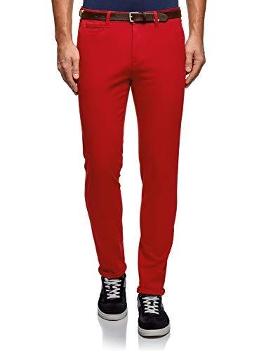 oodji Ultra Homme Pantalon en Coton avec Ceinture, Rouge, 46