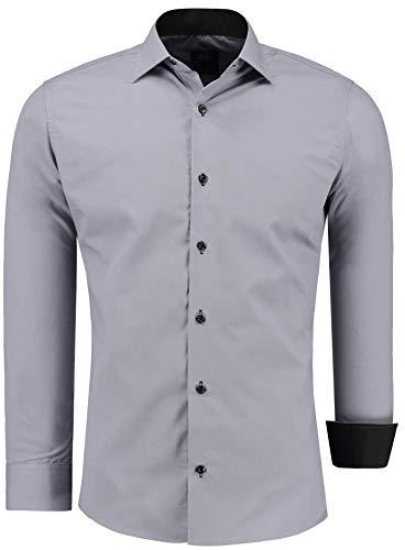 Jeel Herren-Hemd Langarm - Slim-Fit - Business Freizeit Hochzeit - Bügelleicht - Grau XL