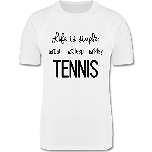 Sport Kind - Life is Simple Tennis - 116 (5/6 Jahre) - Weiß - t-Shirt Kinder - F350K - atmungsaktives Laufshirt/Funktionsshirt für Mädchen und Jungen