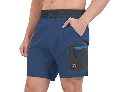 Little Donkey Andy Pantalones cortos de running para hombre, de secado rápido, elásticos, pantalones cortos de entrenamiento atléticos con bolsillos de corte láser y forro azul oscuro Heather XL