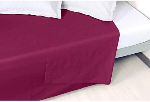 Vent Du Sud Drap Plat Uni en Coton Percale, Ardoise, 300x270 cm Aubergine