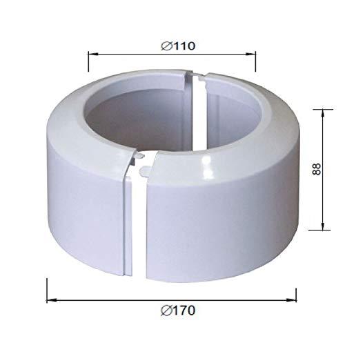 Hohe geteilten zweiteilige weiß WC-Rosette Bodenrohrverbindungskragendeckel 110mm