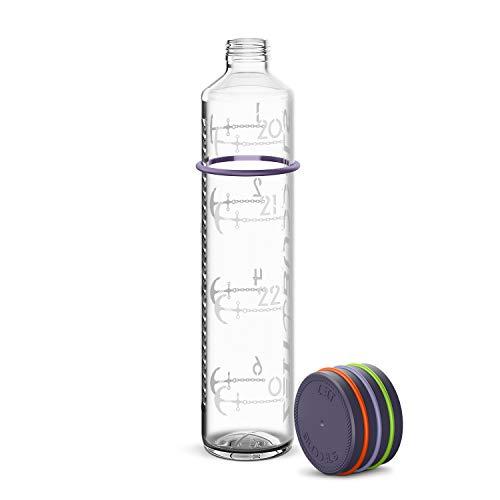 Zeit Buddels Trinkflasche 1L aus Glas mit Trinkerinnerung Wasserflasche für Sport Uni Outdoor Büro BPA-frei Kohlensäure geeignet Sunbeam lila
