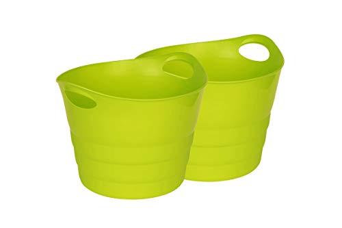 Kreher Set: 2 x Mehrzweckkorb 42 Liter, flexibel und strapazierfähig (Grün)