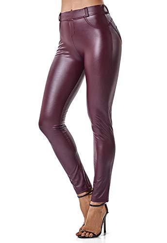 FITTOO Mujeres PU Leggins Cuero Brillante Pantalón Elásticos Pantalones para Mujer Rojo S